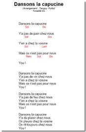 Dansons la capucine Paroles et Accords en pdf