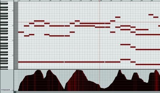 Variation du controleur midi expression dans Reaper